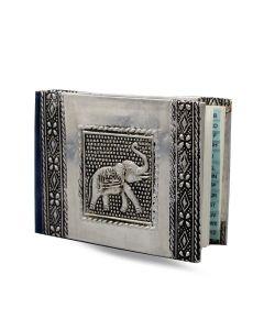 Libreta de direcciones de aluminio vintage pequeño elefante 11x8cm