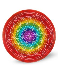 Soapstone Flower of Life 7 Chakra Rings Incense Holder