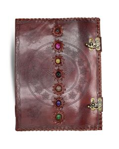 Leather Journal with Seven Chakra Stones (25x33cm)