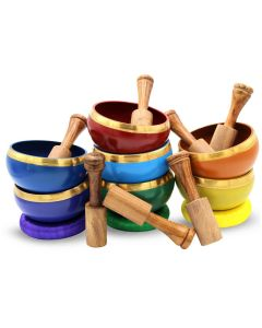 Brass Singing Bowl with stick & Cusion 10 cm 7 chakra set