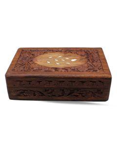Caja de Madera con Incrustaciones Blancas Talla 8x5 '