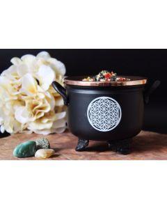 Zwarte Cauldron Bloem des Levens 10x11cm Met koperen deksel
