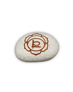 Pebble - Engraved River stone 2th chakra Orange