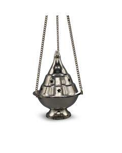 Brass Hanging Incense Burner Nickel Finish (10cm)