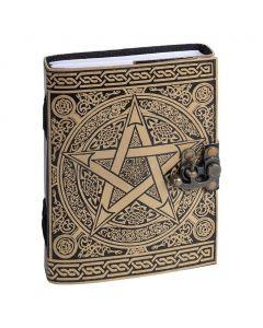 Vintage Leren Dagboek Hamsa hand met houten kaft
