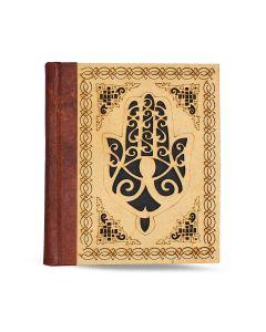 Vintage Leren Dagboek Hand of Fatima met schuifslot