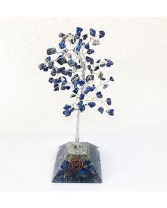Edelsteenboom met Lapis Lazuli Orgone Pyramide Basis 100 Stenen