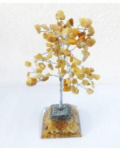 Edelsteenboom met Gouden Kwarts Pyramid Base 100 Stenen
