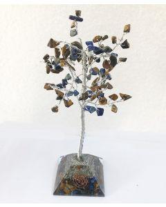 Edelsteenboom met Tijgeroog & Lapis Lazuli Combo 100 Stenen