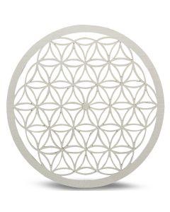 Bandeja De Cuadrícula de cristal De Madera Flor De La Vida Blanco 20cm