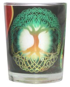 01143 - Printed Glass Votive Holder - Tree of Life