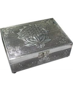 Lotus & Flower of Life box of white metal
