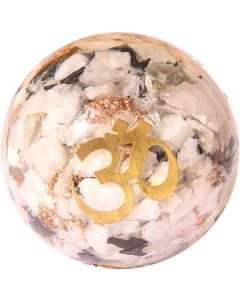 Orgonite Sphere Rainbow Moonstone Inside With Om