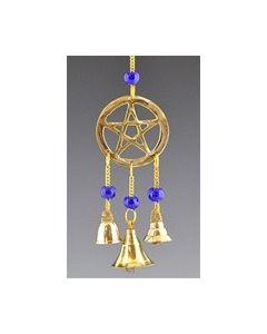 Pentagram In Messing Met Kralen En Miniatuur Messingsklokken - 9
