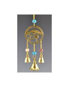 Horus Oog In Messing Met Kralen En Miniatuur Messingsklokken