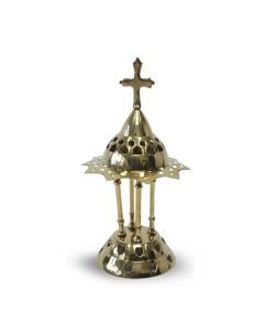 Incenseburner with peak and cross (12cm)