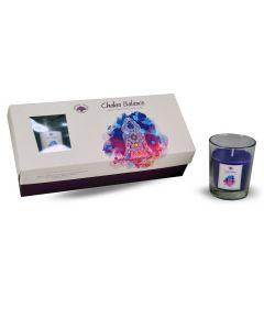 Green Tree Chakra Balance glass votive 3 pc candle giftset