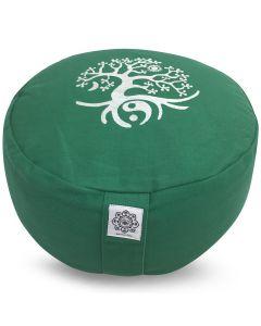 Meditation Cushion Green - Tree Of Life Buckwheat Filled