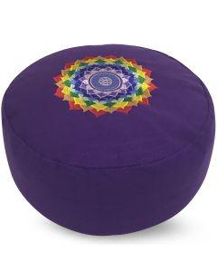 Meditation Cushion Round Chakra Lotus Purple Buckwheat Fille