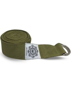 Olive Cotton Yoga 8 ft. strap with wrapped  1.5'' D-ring