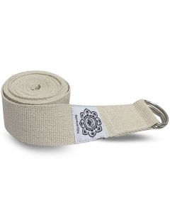 Ivory Cotton Yoga 8 ft. strap with wrapped  1.5'' D-ring