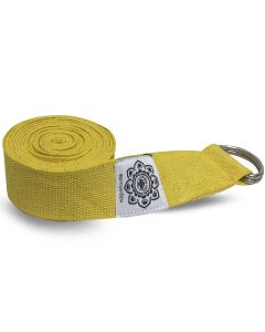 Yellow Cotton Yoga 8 ft. strap with wrapped  1.5'' D-ring
