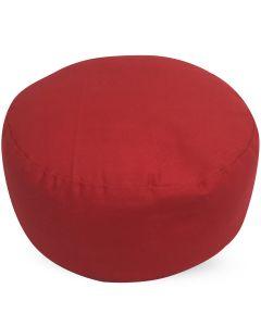 Meditation Cushion Round Plain Red Buckwheat Filled