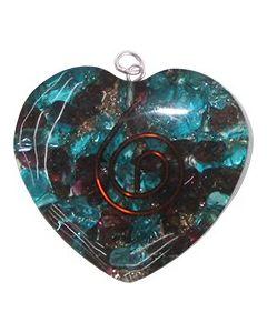 ORGONE HEART PENDANT - GARNET + BLUE TOPAZ