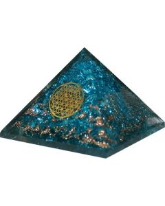 Large Orgonite pyramid Blue Topaz Flower of Life