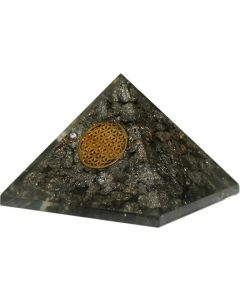 Large Orgonite Pyramid - Pyrite, Flower Of Life