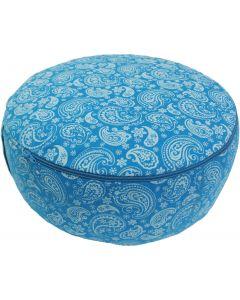Meditation Cushion Grey & Turquoise Dyed Cotton Canvas