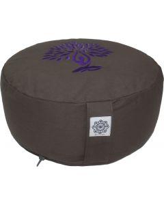 Meditation Cushion Round Yoga Tree Purple Dyed Cotton