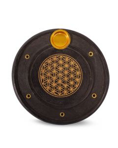 Black Mango Wood Incense Burner with Flower of Life (10cm)
