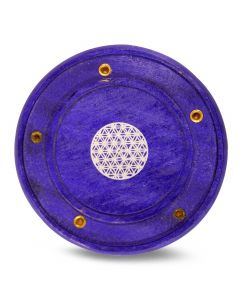 Purple Mango Wood Incense Holder Flower of Life (7,5 cm)