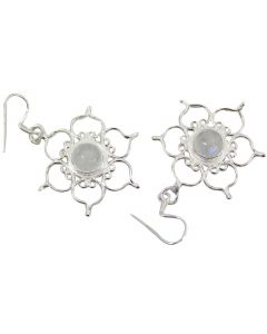 STERLING SILVER EARRINGS LOTUS- RAINBOW MOONSTONE