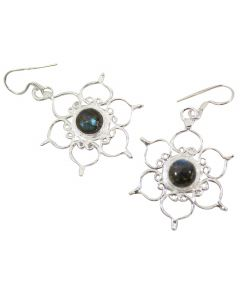STERLING SILVER EARRINGS LOTUS-LABRADORITE