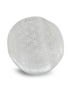 "SELENITE ROUND INCENSE HOLDER- FLOWER OF LIFE 4""dia"