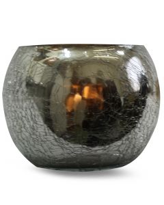 CRACKED GLASS VOTIVE HOLDER-SILVER
