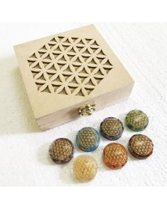 Flower of life box with orgone fol engraved discs