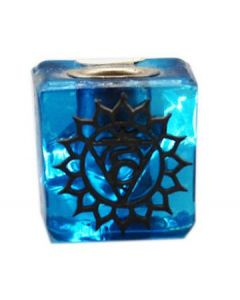 GLASS CUBE LIGHT BLUE CANDLE HOLDER-THROAT