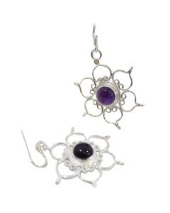 STERLING SILVER EARRINGS LOTUS- AMETHYST
