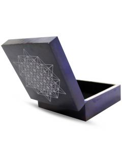 Metatron Cube Purple Soapstone Box