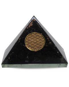 Orgonite Pyramid- Black Tourmaline, Flower Of Life 40 mm