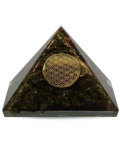 Large Orgonitee Pyramid - Epidot, Flower Of Life 40 mm