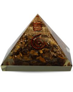 Orgonite pyramid Tiger Eye With Crystal spiral and Copper