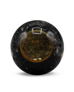Orgone Sphere-Black Tourmaline-Flower Of Life