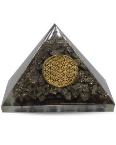 Small Orgonite Pyramid Pyrite Flower Of Life 40 mm