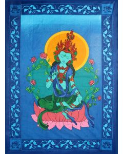 COTTON TAPESTRY GREEN TARA W/COLOR SHEET ONLY