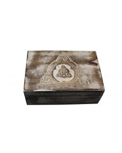 Triquetra handcrafted wooden box white wash