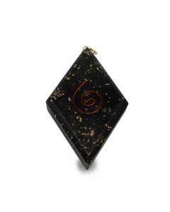 Orgone pendant diamond shaped Black Tourmaline with spiral
